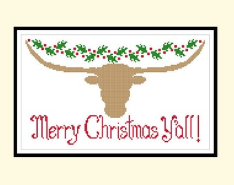 Texas Longhorn Christmas Holly Original Cross Stitch PDF Pattern Instant Download