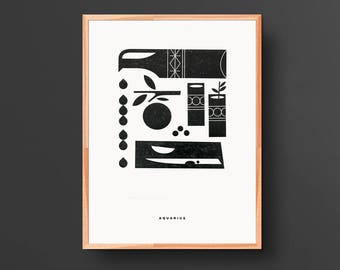 Aquarius Letterpress Print