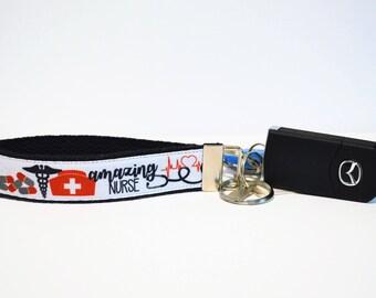 Amazing Nurse Keychain Wristlet LPN LVN BSN Keyfob Msn Nursing Student Nurse Cap Stethoscope Medicine Symbol Caduceus