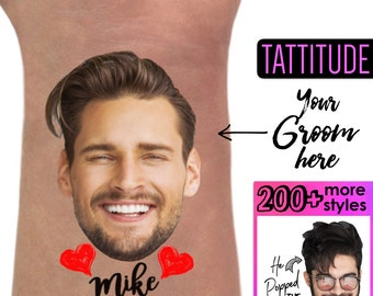 Bachelorette Party Favors - Bachelorette Tattoo - Bachelorette Party Favor - Groom's Face Tattoo - Bride Tattoo - Bride Gift - Funny Gift