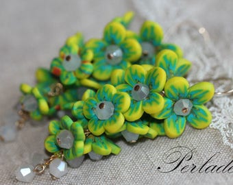 Polymer Clay Flower Earrings, Gold Filled Earrings, Art of polymer clay, Handmade Clay Flowers, Flower Cluster Earrings, Clay Flowers