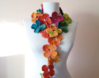 Autumn crochet scarf, Crochet lariat scarf, Colorful lariat scarf, Crochet flower scarf, Crochet floral lariat scarf, Gift for her, Acrylic