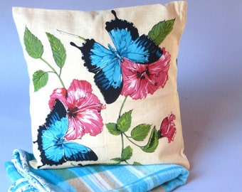 VintageTea Towel Cushion Cover - Handmade from unused vintage linen