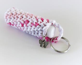 Lip Balm / Chapstick Case Keychain with Butterfly Charm, Chapstick Included