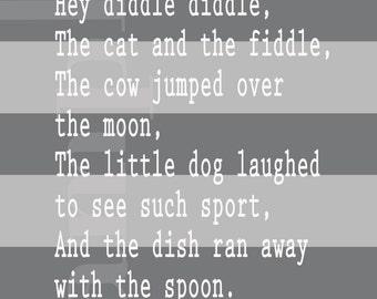 Hey Diddle Diddle Nursery Rhyme Printable