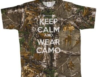 Men's Keep Calm And Wear Camo Realtree Camoflauge T-Shirt
