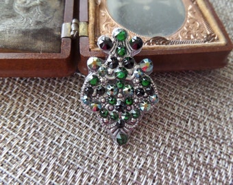 Large Green and Black Bindi with Swarovski Crystals