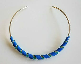 blue and green choker necklace,  stunning, choker necklace, adjustable