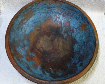 Blue Painted WOOD BOWL