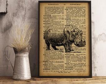 Hippo Wall Art, Hippopotamus Print Animal Poster Dictionary Art Print, Hippopotamus illustration wall art, Animal Art Hippo Poster (A14)
