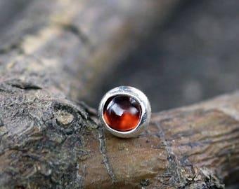 Garnet nose stud / sterling silver nose stud / silver nose stud / gemstone nose stud / gift for her / January birthstone / body jewelry