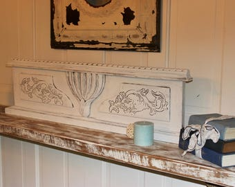 Architectural Farmhouse Wood Pediment Featuring Vintage early 1900's Hand Carvings - one of a kind!