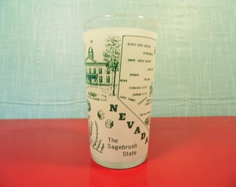 Vintage Nevada State Glass - Hazel Atlas - 8 Oz. - Retro Graphics