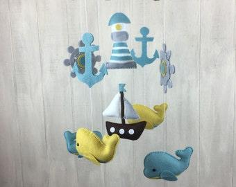 Nautical mobile - baby mobile - whale mobile - sailboat mobile - anchor - ship wheel mobile - baby crib mobile - lighthouse