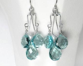 Blue Chandelier Earrings Aquamarine Chandelier Earrings Aquamarine Blue Drop Earrings Sterling Silver