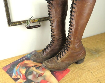 Vintage Women's Tall Brown Leather Lace Up Boots