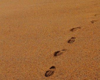 Footprints on a Dorset Beach Print