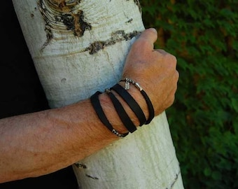 Mens Leather Bracelet | The Tycoon | Beautiful Black Leather Sterling Stone Wrap Bracelet