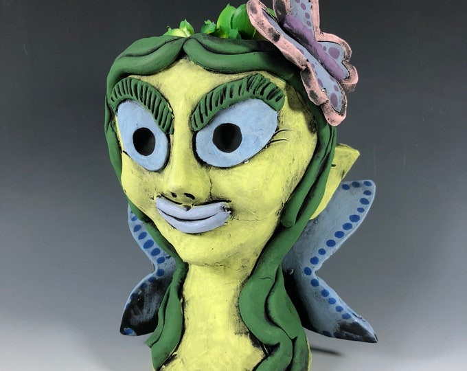 Entwistle the Fairy // Green Lady // Succulent Pot // Planter // Mythical // Magical // Small Sculpture // Handmade // Ceramic // Cute //