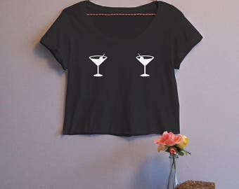 Martini Glass Print Women's Crop Tee