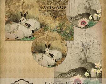 Vintage Victorian Rabbits & Flowers Easter Digital Instant Download