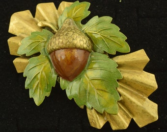 "Large 1940s Enameled Acorn Oak Leaf Brooch 1940s ~ 3 3/8"" wide ~ Lot 2146"