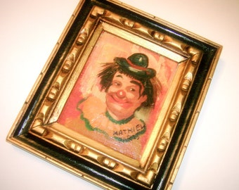Clown Oil Painting MATHIEL French Artist Happy Hat Clown Picture Wood Carved Design Frame Vintage Painting Clown Painting Decorative Frame