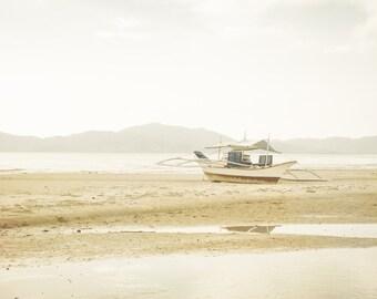 Seaside Photography, Beach Photography, Ocean, Boat, Beige,Sea Decor, Coastal, Dreamy, Pastel Colors