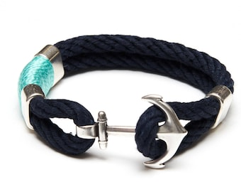 Nautical Rope Bracelet / Nautical Anchor Bracelet / Navy Blue Anchor Bracelet / Silver Turquoise Green Bracelet / Nautical Jewelry