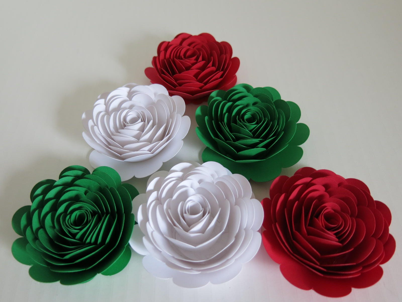 Red white green mexican color roses 3 paper flowers zoom mightylinksfo