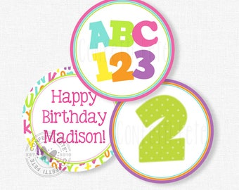 """Alphabet Party Centerpiece Circles, ABC123 Birthday Decorations, Numbers ad Letters Table Decor, Printable 4"""" Party Circles"""