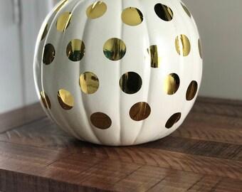 White Pumpkin with gold polka dots