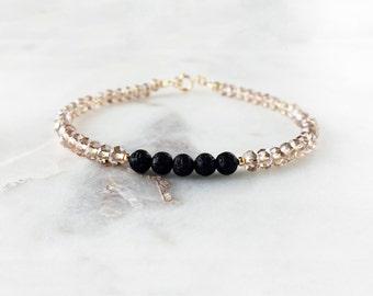 Champagne Gold Bracelet, Lava Bead Bracelet, Lava Bracelet, Essential Oil Diffuser Bracelet, Healing Stone, Diffuser Jewelry, Hypoallergenic