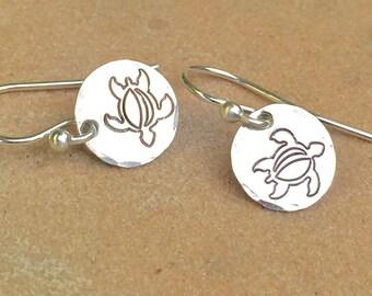 Sea Turtle Earrings, Hawaiian Earrings, Dangle Earrings, Handstamped Earrings, Sterling Silver Earrings , Natashaaloha