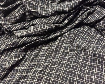 Rayon Challis Fabric Plaid Black with Cream Color Stripes