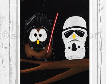 Star Wars print, Darth Vader, Stormtrooper, Star Wars fans, Kids decor, Office art, Owl decor, Owl gift