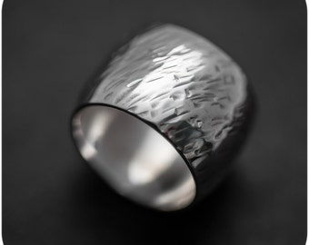 Wheat - Wide Hammered Sterling Silver Band - Size 7 or custom