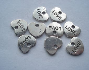 10.5mm Antique Silver Metal Alloy Love Heart Charms, Lead and Nickel Free, Pack of 10 Love Charms, C336