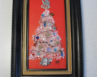 "Rock Christmas Tree in 15 x 1 x 9"" framed picture. White Tree has clear stones cover to  give it shine and style.  Framing is fantastic."