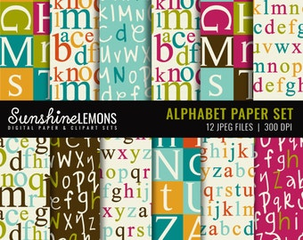 Alphabet Digital Scrapbooking Papers - Set of 12 - COMMERCIAL USE Read Terms Below
