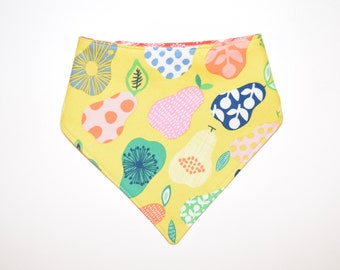 The Perfect Pear/Dandelions, Reversible Dog Bandana, Snap Closure Bandana