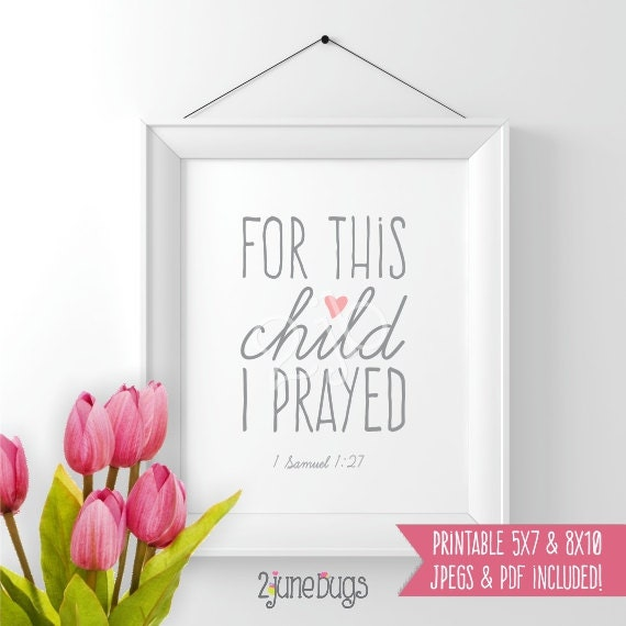 For this child i prayed printable scripture wall art 1 samuel 127 baby girl nursery wall art