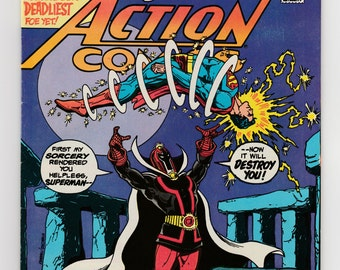 Superman in Action Comics #527 Vintage DC Comic Book Introducing Lord Satanis Foe Sorcery Over Stonehenge Villian Airwave and Aquaman Story