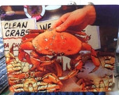 Large Glass Cutting Board - Dungeness Crab - 12 in x 15 in