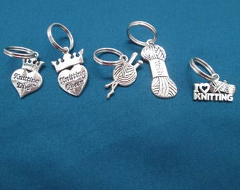 Large Silver Knitting Markers/Charms