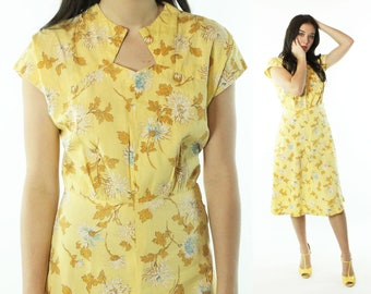 Vintage 40s Floral Day Dress Short Sleeve Yellow Cotton 1940s Small S Pinup Rockabilly