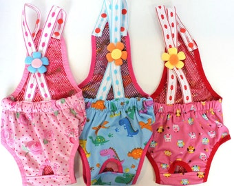 SET of 3 COLORS Diapers Sanitary Pants Stay On Female Suspenders For SMALL Dog (Pink/Blue/Hot Pink)