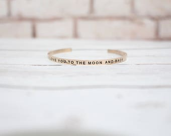 I Love You to the Moon and Back - Rose Gold Words of Grace Cuff Bracelet