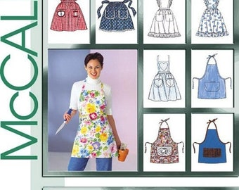 ON SALE Misses Set of Bib Aprons Half Apron Hobby Apron Vintage Apron Sewing Pattern McCalls 2947 One Size UNCUT