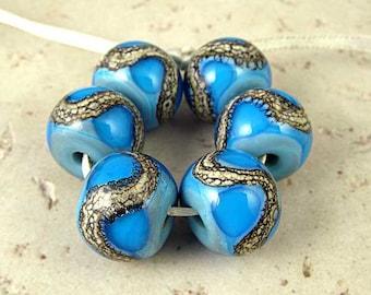 Handmade Lampwork Glass Bead Set of 6 14x11mm Aqua on Turquoise